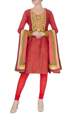 Red & green sequin kurta