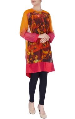 Pink & orange kurta in renaissance print
