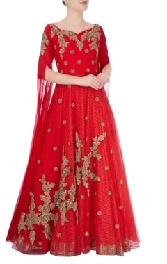 Red jaal metallic embroidered gown