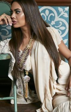Arpita Mehta Ruffle mirror work sari with blouse and jacket
