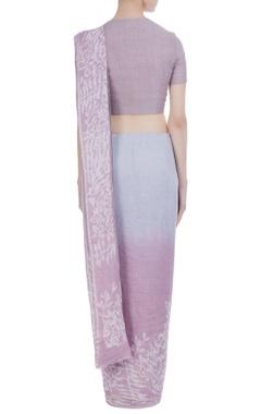 Batik work handwoven linen sari