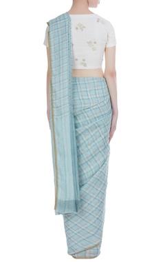 Checkered detail handwoven linen sari