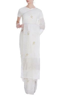 Linen handwoven sari with flower print