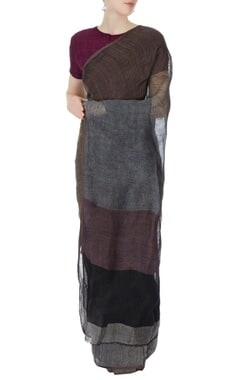 grey & brown linen sari