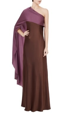 Anome Wine one shoulder satin lycra gown