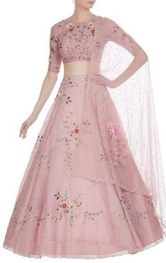 Anushree Reddy Pearl & floral thread embroidered festive lehenga set