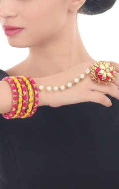 hot pink & yellow bangles with attached ring