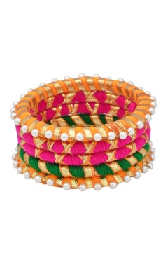 multi-colored bangles with pearls