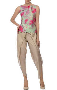 aqua fuschia tie dye top with beige dhoti pants