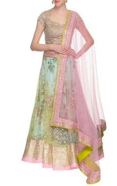 aqua green embellished lehenga set