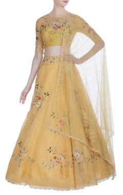Anushree Reddy Organza floral thread embroidered lehenga set