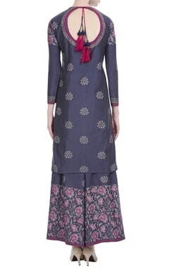 Chanderi silk block printed short kurta-palazzo set