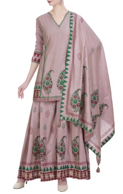 Chanderi silk block printed kurta-palazzo set