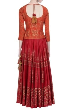 Chanderi silk block printed blouse with lehenga