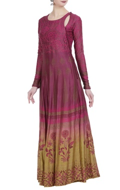 Ombre chanderi silk block printed anarkali set