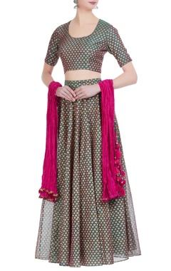 Chanderi silk all over printed lehenga set with crushed dupatta