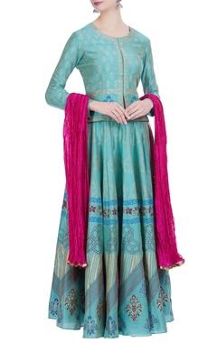 Chanderi silk block printed lehenga with jacket & dupatta