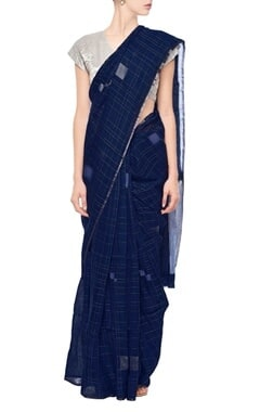 Berry blue grid linen sari