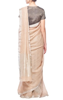 Hazelnut linen sari with silver border