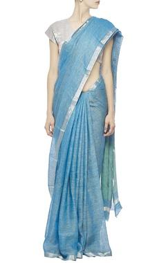 deep aqua linen sari with silver zari border