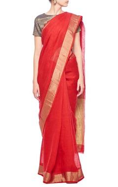 Red & gold zari checkered linen sari