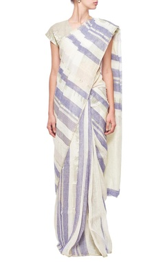 ivory & indigo striped linen sari