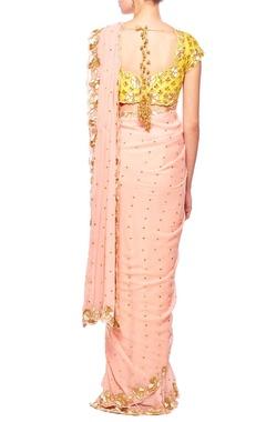 Rose pink & haldi floral embroidered sari