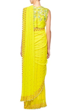 lime green gold gota floral embroidered sari