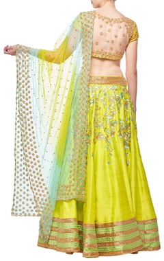 Lime green & sea greenfloral embroidered lehenga set