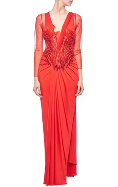 Red faux metal embellished sari gown