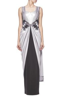 Grey & black embellished sari gown