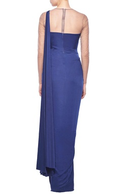 Ink blue faux embellished sari gown