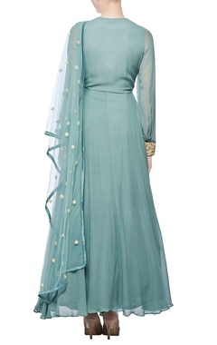 teal zardosi embroidered anarkali set