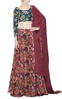 Emerald embroidered & floral printed lehenga set