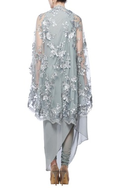 ash grey embellished kurta cape with churidar