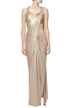 dull gold shimmer sequin embellished sari gown