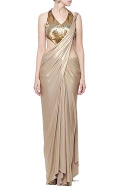 Gold embellished shimmer sari gown