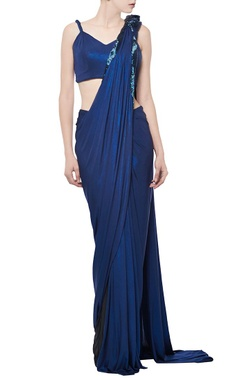 royal blue shimmer embellished sari