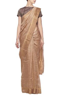 Soft hazel linen sari