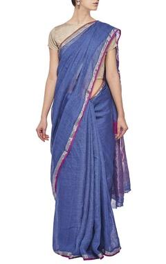 Deep blue linen sari