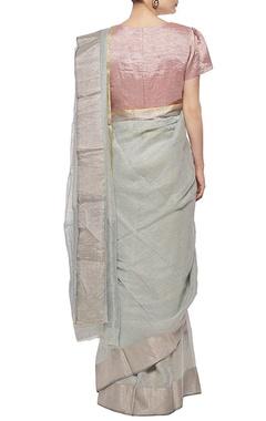 Pale blue linen sari with silver border