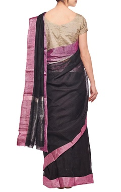Black linen sari with purple herringbone border