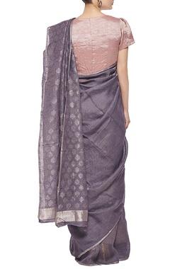 Grey and silver woven linen sari