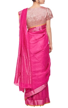 Raani pink herringbone linen sari