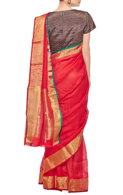 Red linen sari with gold border