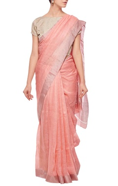 Salmon linen sari with silver border
