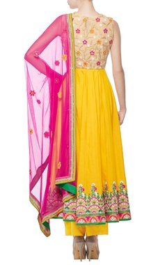 yellow mirror multi colored embroidered anarkali set