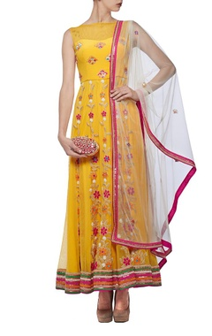 yellow & ivory floral mirror embroidered anarkali set