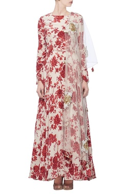 Ivory & red floral printed anarkali with dupatta