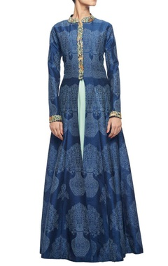 Midnight blue embroidered jacket with mint georgette inner